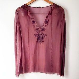 Elie Tahari Couture Silk Sheer Top with Tassels